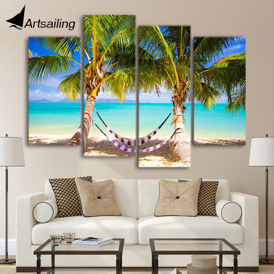 4 Pieces Canvas Paintings Printed Tropical Beach Hammock Wall Art Print Canvas Painting Home Decor For Living Room We323 Home Decor Painting & Calligraphy