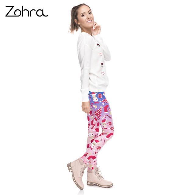 Zohra New Design Women Legging Christmas Symbols Ombre Printing Fitness Leggings High Waist Woman Pants 4