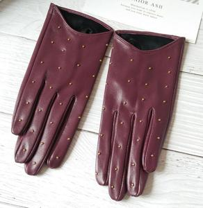 Image 3 - Womens Spring Autumn Natural Sheepskin Leather Gloves Female Genuine Leather Punk Style Rivet Motorcycle Driving Gloves R755