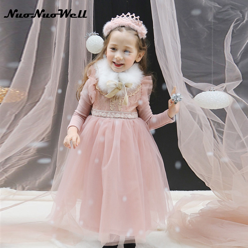 NNW Teenager Girls Dresses for Party and Wedding 2017 New Lace Flower Baby Girl Princess Dress Costume Kids Autumn Winter Dress flower girl dresses for kids new girls summer full dress for party and wedding teenagers sundress fancy clothes princess costume