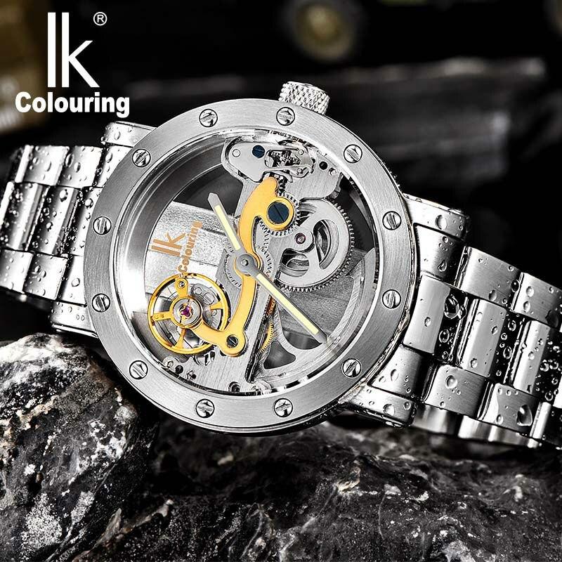 Hommes de montre IK Colorier Creux Automatique Montre Mécanique avec Bracelet En Acier Inoxydable Bracelet et Lumineux pointeur