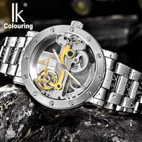 Men S Watch IK Colouring Hollow Automatic Mechanical Watch With Stainless Steel Bracelet Strap And Luminous