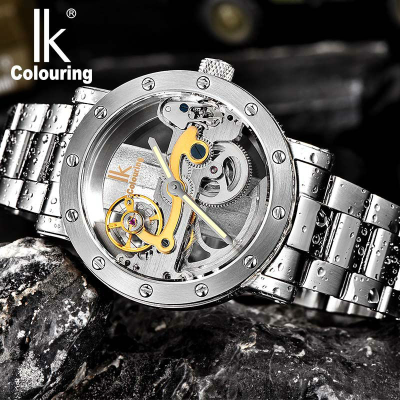 Men's watch IK Colouring Hollow Automatic Mechanical Watch with Stainless Steel Bracelet Strap and Luminous pointer ik colouring automatic mechanical watch decorative small dials luminous pointer hollow back case stainless steel men wristwatch