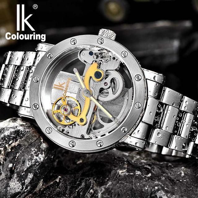 91ac0b5d6aa Relógio dos homens IK Colouring Oco Relógio Mecânico Automático com  Pulseira de Aço Inoxidável Strap e
