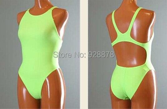 200f1d0eb8 Fluorescent green Plain Lycra Spandex Zentai Bodysuit Leotard One Piece  Swimsuits