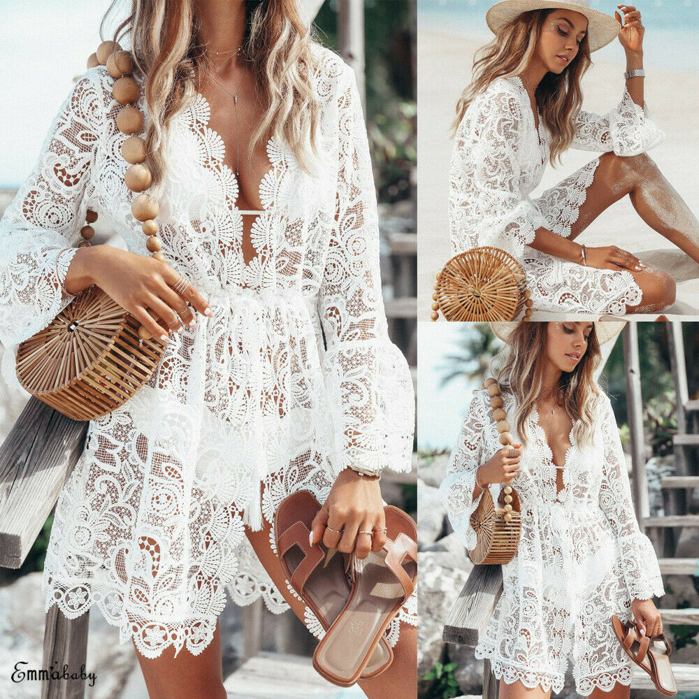 <font><b>Women</b></font> <font><b>Fashion</b></font> <font><b>Summer</b></font> V Neck <font><b>Sexy</b></font> Lace Bell Sleeve <font><b>Beach</b></font> Short Mini <font><b>Dress</b></font> Ladies Bikini Cover Ups Chiffon See-through Swimwear image