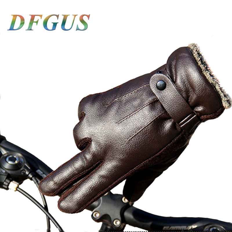 Men's Winter Leather Gloves Thicker Warm Driving Ridding Gloves Mittens Eldiven Male Leather Gloves
