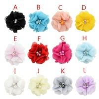 12 Colors Fashion Girls Hair Pin Clips Children's Hair Accessories Cute Baby Kids Girls Chiffon Inlaid Pearl Flower Hairpin