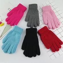 Осенне-зимние женские модные однотонные трикотажные теплые перчатки ярких цветов женские зимние вязаные перчатки TB276