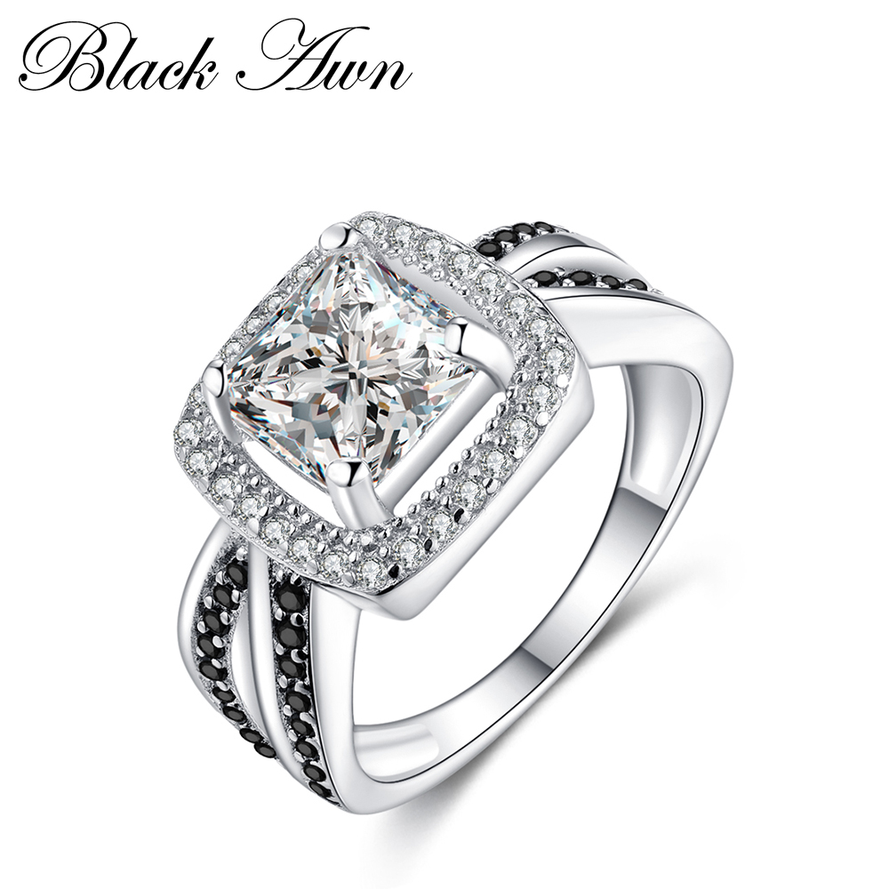 [BLACK AWN] Square Wedding Black&White Stone Rings for Women Genuine 100% 925 Sterling Silver Jewelry C195[BLACK AWN] Square Wedding Black&White Stone Rings for Women Genuine 100% 925 Sterling Silver Jewelry C195