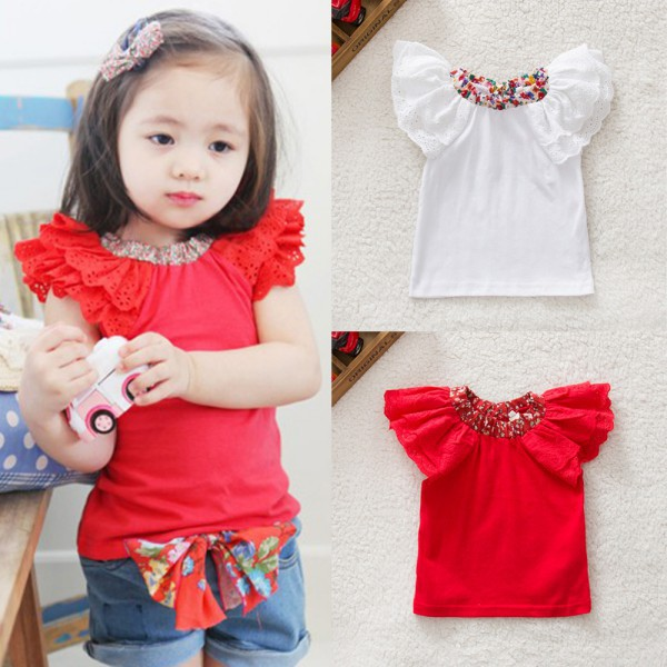 0-2Y Kids Baby Girls Clothing Floral Collar T-shirts Cute Short Sleeve Tops Blouses Shirts