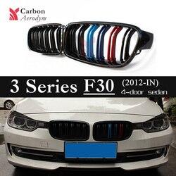 F30 F31 podwójna listwa czarny błyszczący M kolor wyścigi Grille dla BMW serii 3 F30 nerek ABS Grille w Kratki wyścigowe od Samochody i motocykle na