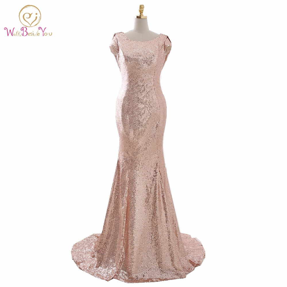 Junoesque Champagne Sequined Bling Evening Dresses Long Floor Length Sweep  Train Scoop Mermaid Formal Dress 810069cca5c3