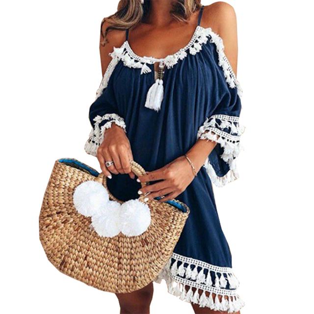 Female Spaghetti Strap Boho Dress Plus Size 5XL Summer Loose Beach Sundress Backless Short Sleeve Tassel Women Dresses GV130