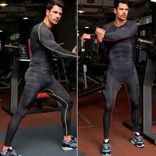 Pack of 2 Men's Active Clothing Set Fitness Long Sleeve Compression T shirt Suit Men Bodybuilding Sportswear
