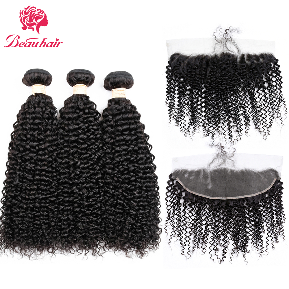 Beau Hair Peruvian Hair Weave 3 Bundles With Closure Afro Kinky Curly Human Hair Bundles With Ear To Ear Lace Frontal Closure