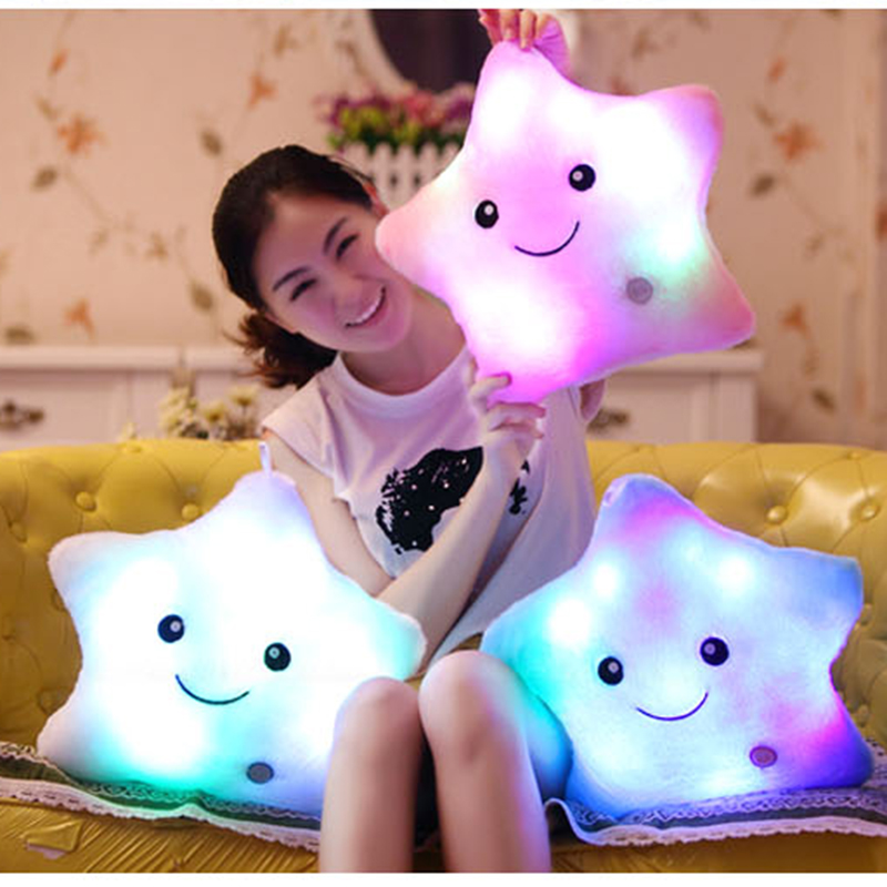 Luminous Cushion Baterry Powered Decorative Flashing Music Cushion Sound Smiling Star Cushion Lovely Gifts Birthday Presents