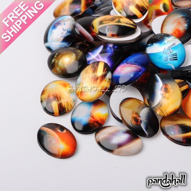 Cabochons ovales en verre imprimé ciel, couleur mixte, 25x18x6mm