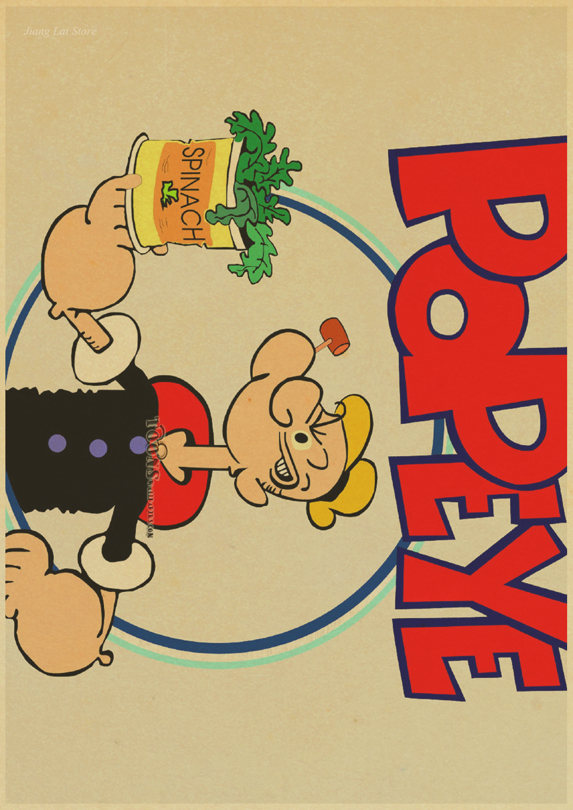Vintage popeye the sailor man retro poster retro art wall home ...