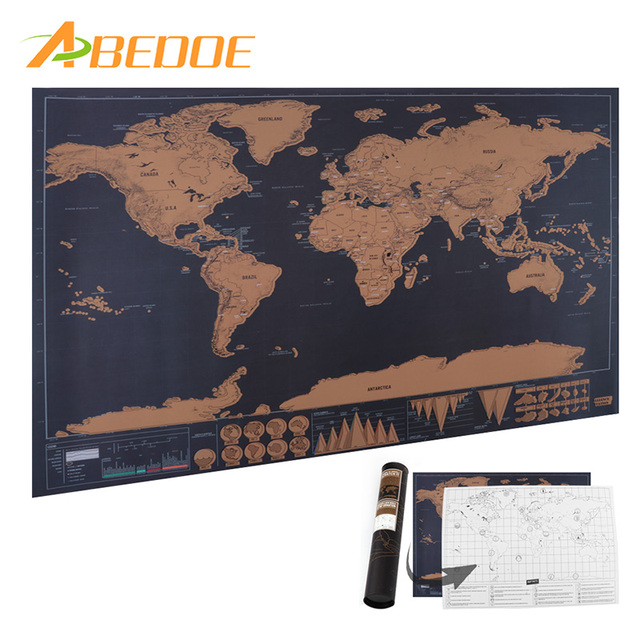 abedoe vintage world map personalized scratch off world travel map poster sticker national geographic retro maps