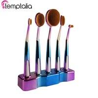 Temptalia Professional 5 Pcs Oval Makeup Brushes Extremely Soft Makeup Brush Set Foundation Powder Brush Kit