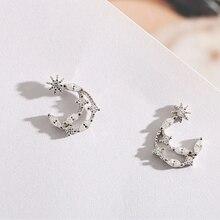 Sweet Style Silver Cubic Zirconia Moon Stud Earrings 925 Moon Star Earrings For Women Girl New Lady Fashion Jewelry цена 2017