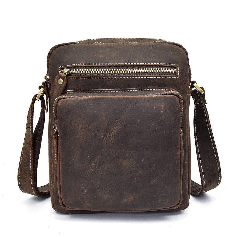 LAPOE Genuine Leather Men Bag Men Messenger Bags Fashion ipad Crossbody Bags Small Casual Men's Leather Shoulder Bag Man fashion genuine leather men bags brand leisure men messenger bag man small shoulder bag high quality crossbody bags black