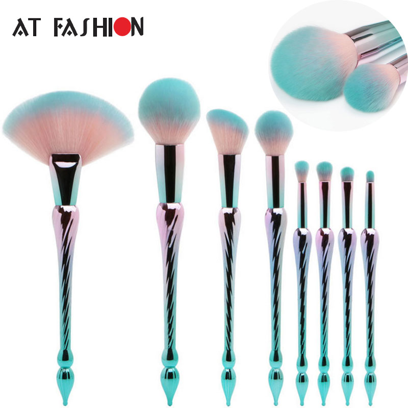 AT FASHION 8pcs Makeup Brushes Set Professional Long Handle Fan Brush Kit Unicorn Mermaid pincel maquiagem Green New Arrival 7pcs sets new europe and the united states selling liquid flash makeup brush set flow flash unicorn makeup brush fantasy mermaid