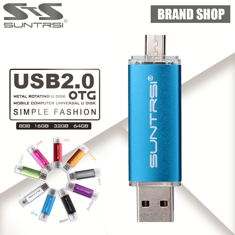 Suntrsi OTG USB Flash Drive 64GB USB Pen Drive 16GB 8GB Pen Drive OTG external Micro USB Stick Memory Stick USB 2.0 Flash Card