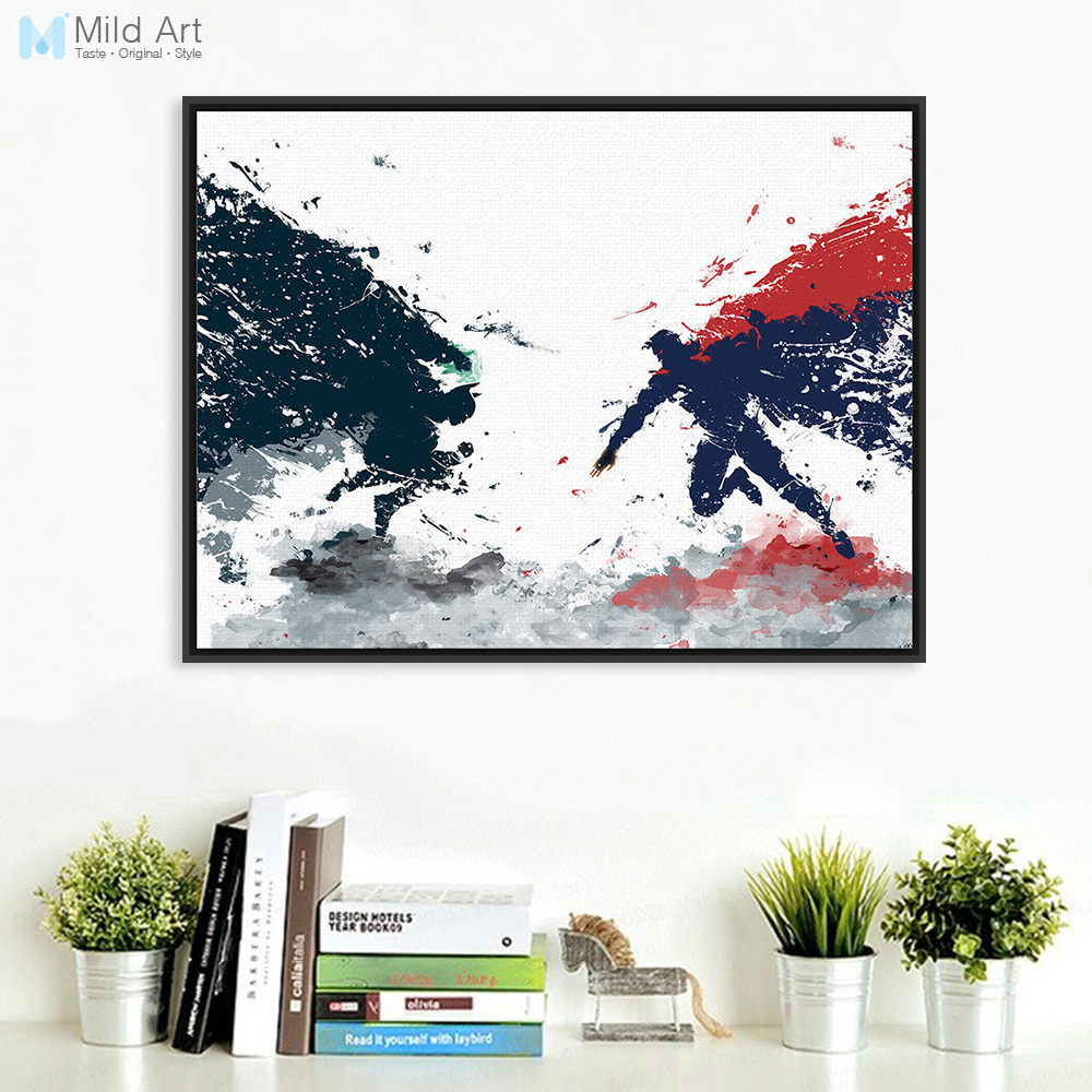 Poster Kinderzimmer Us 7 Original Aquarell Batman Vs Superman Pop Film A4 Kunstdruck Poster Kinderzimmer Wand Bild Leinwand Malerei Home Decor Kein Rahmen In Original