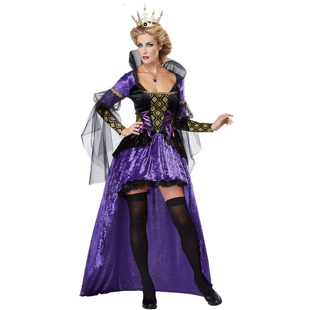 Purple Vintage Witch Queen Sexy Halloween Costume Fancy Dress Women Fairytale Snow White Character Cosplay
