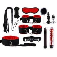 13pcs Sex Toys for Women Men Handcuffs Nipple Clamps Whip Spanking Sex Silicone Metal Anal Plug Butt Bdsm Vibrator Bondage Set