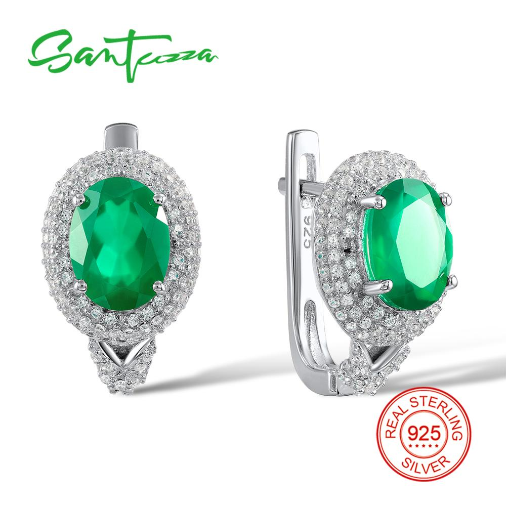 Santuzza 925 Silver Jewelry Sterling Silver Round Stud Earrings For Women Oval Green Chalcedony Stud Earrings 2018 For Women pair of stylish rhinestone triangle stud earrings for women