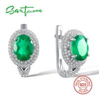 Santuzza 925 Silver Jewelry Sterling Silver Round Stud Earrings For Women Oval Green Chalcedony Stud Earrings 2018 For Women