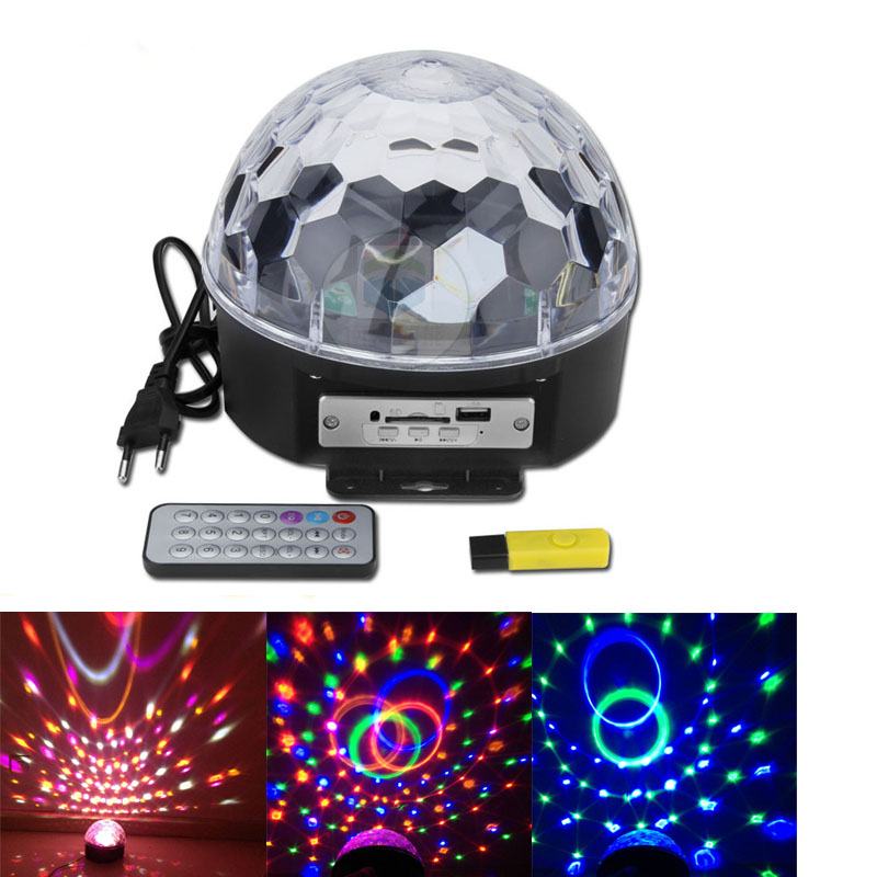 6 Colors 25W LED RGB Crystal Magic Ball MP3 Sound Control Laser Light Party Disco Club DJ Holiday Night Stage Lamp Digital EU US mini rgb led crystal magic ball stage effect lighting lamp bulb party disco club dj light show lumiere
