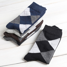 10Pair Four Season Male Long Socks For Men Diamond Plaid Socks Chaussette Long Business Dress Compression Sock Calcetines Hombre