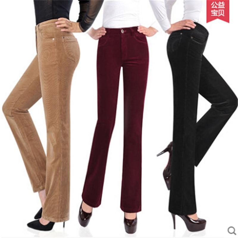 b16ff5a7ff Pantalones Plus Black green Elástica Rectos Mujer Nueva Tamaño Pana dark  Blue Moda Cintura Otoño Alta ...