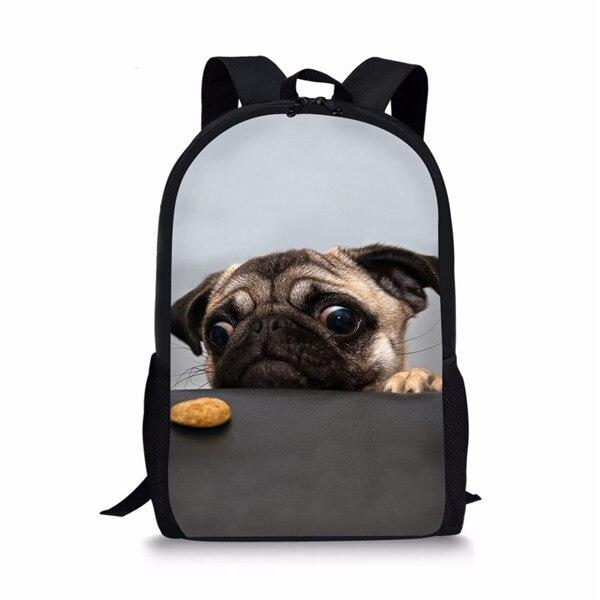 THIKIN Grey Pug Dog Print School Bag Cute Primary Boys Girls Animals Schoolbags Preppy Style Child Bookbag For Children Custom