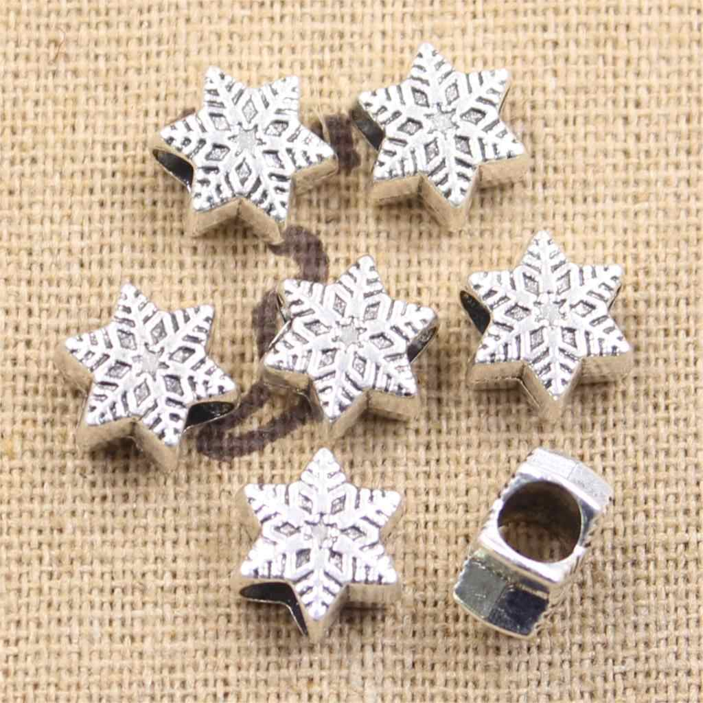 8pcs 11x9x6mm snow snowflake 4.5mm Big Hole Bead Antique Silver Beads Charms Fits Diy Charms Bracelet Jewelry Beads