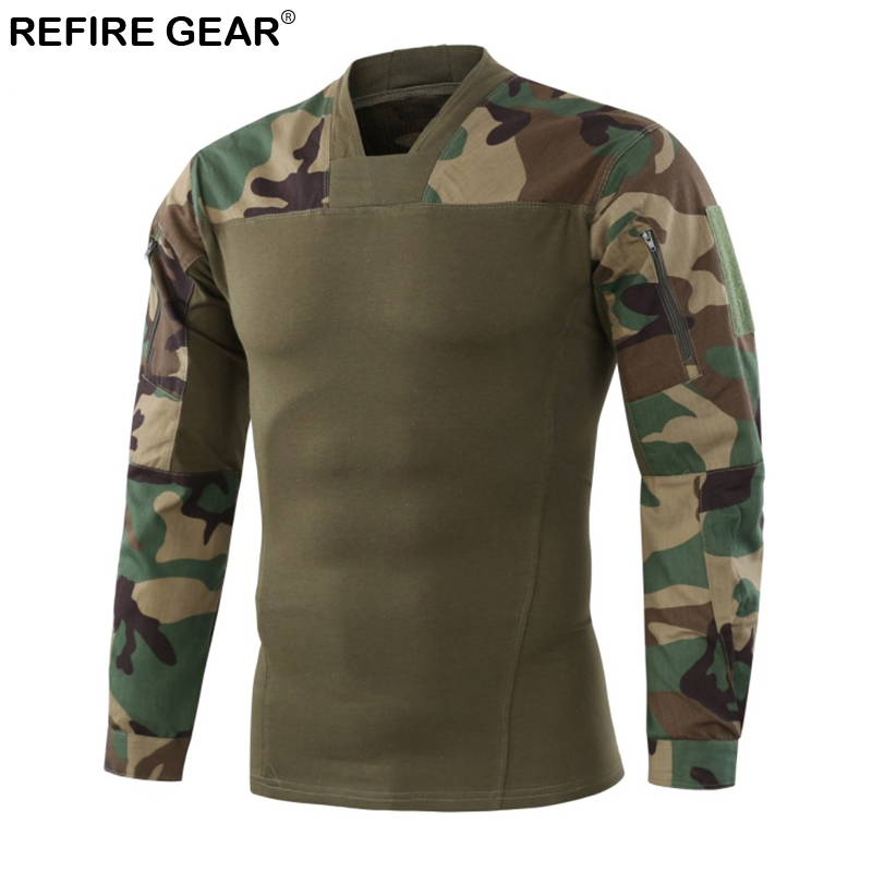 Refire Gear New Outdoor T-Shirt Men Camouflage Long Sleeve Tactical Shirt Quick Dry Hiking Rip-stop Hunting Tactical T-shirts
