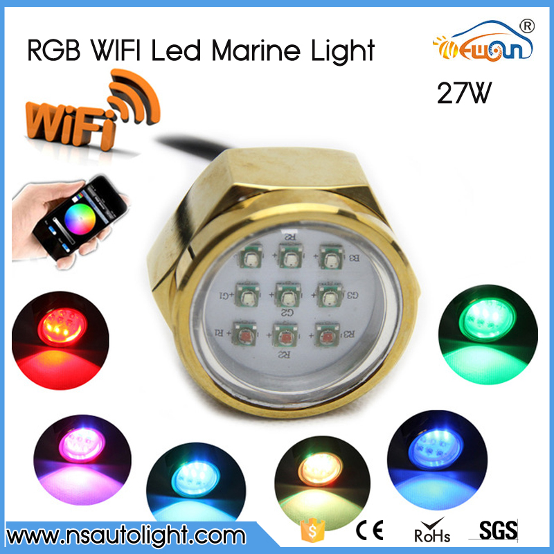 Excellent Quality IP68 Waterproof Rate 9 LED Underwater Marine Boat Drain Plug Light brightest 27W WIFI RGB DC11-28V high quality white blue red 9w led boat yacht drain plug light bronze housing waterproof underwater waterproof marine light ip68