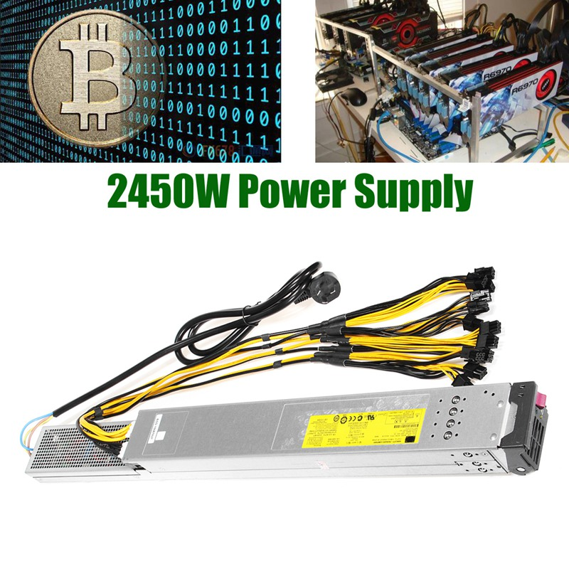 2450W Power Supply For Antminer S9 T9 S7 For L3 w Complete PCI-e Wiring Installed New Computer Power Supply For BTC 2016 new antminer apw3 12 1600 a3 1600w s5 s5 s7 psu power supply bitmain antminer apw3 12 1600 psu series 1u psu s9