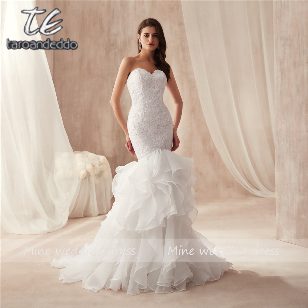 Sweethear Neckline Design Ruffled Organza Wedding Dress Mermaid Lace Plus Size Bridal Gowns vestido de festa