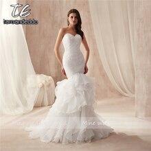 Sweethear Neckline Design Ruffled Organza Wedding Dress Mermaid Lace Plus Size Bridal Gowns Vestido De Festa Longo De Luxo
