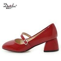 Daitifen בוהן מרובע נעלי נשים משאבות אביב עקבים גבוהים במשרד נעלי מרי ג 'יין רגיל נוחות נעלי חתונה גבירותיי גודל 33-44