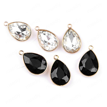 10PCS 1.5x2.3CM Gold Color Plated Alloy with Glass Tear Drop Shape Charms End Beads Diy Jewelry Earring Findings Accessories недорого