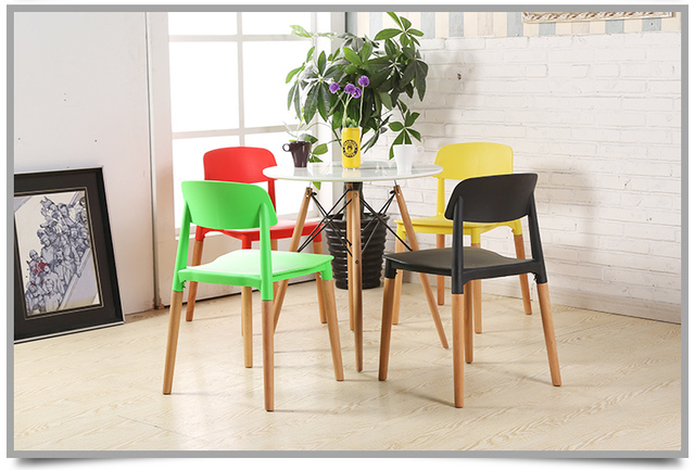 Cafe Chairs Hotel Lobby Stool Green Red White Black Color Wood Leg PP Seat  Free Shipping Chair Stool Retail Wholesale