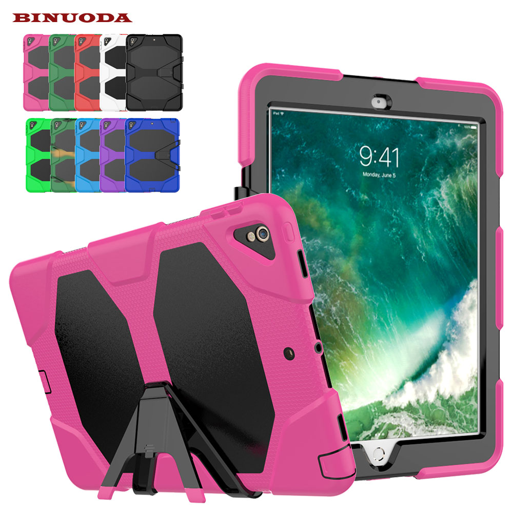 Shockproof Case for iPad Pro 10.5 Military Duty Armor Kickstand PC Silicone Stand Cover Case for Apple iPad Pro 10.5 inch Tablet case for ipad pro 12 9 case tablet cover shockproof heavy duty protect skin rubber hybrid cover for ipad pro 12 9 durable 2 in 1