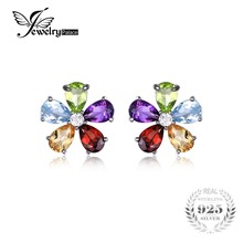 Jewelrypalace flor 4.3ct multicolor natural amatista citrino granate peridoto topacio azul aretes de plata de ley 925