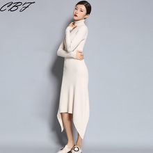 CBF spring&autumn Hot Sales Women's Knitted pure Wool Dress Turn-down Collar Long style Solid color high quality Fishtail skirt(China)